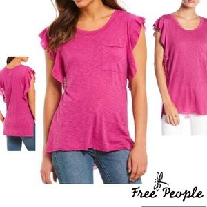 FREE PEOPLE  Top Fuchsia Flutter Sleeve NWT